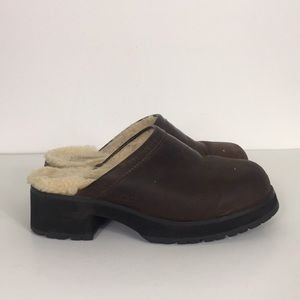 UGG Brown Leather Open Back Heeled Clogs